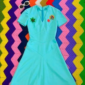 Vintage 60s 70s mod fit n flare midi dress XS